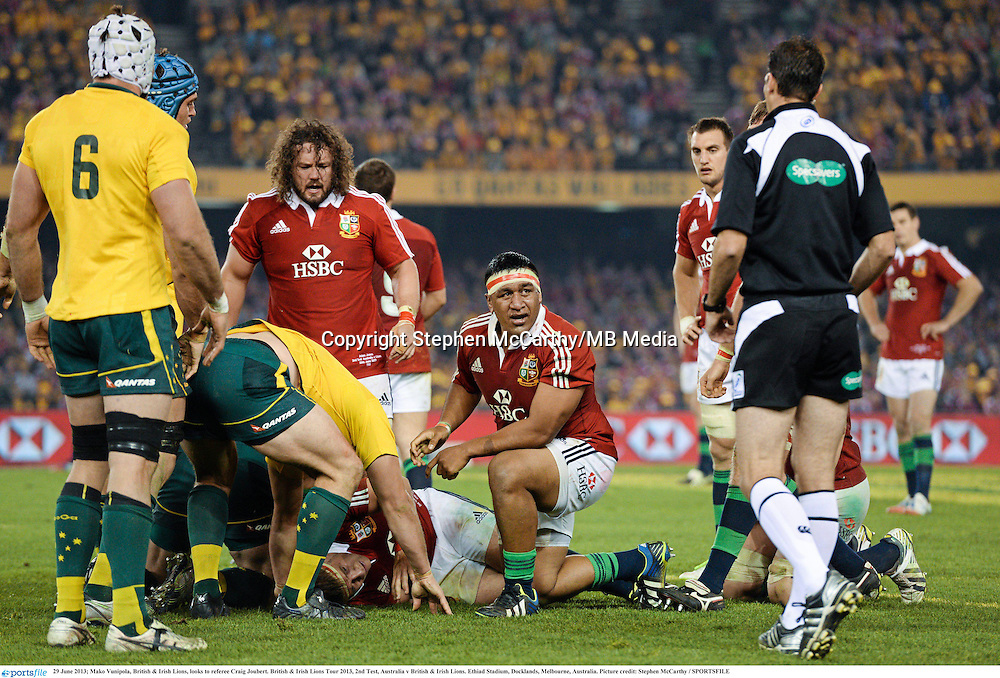 29 June 2013; Mako Vunipola, British & Irish Lions, looks to referee Craig Joubert. British & Irish Lions Tour 2013, 2nd Test, Australia v British & Irish Lions. Ethiad Stadium, Docklands, Melbourne, Australia. Picture credit: Stephen McCarthy / SPORTSFILE