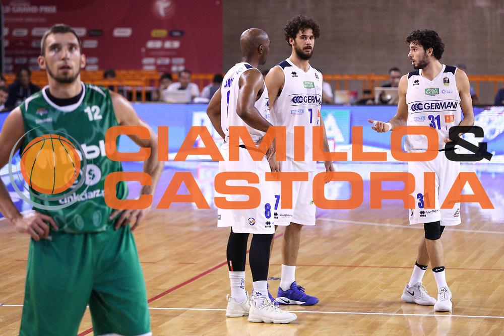 Vitali Luca, Vitali Michele e Landry Marcus, Germani Basket Brescia vs Stelmet Zielona Gora, 2 edizione Trofeo Roberto Ferrari, PalaGeorge di Montichiari 22 settembre 2017