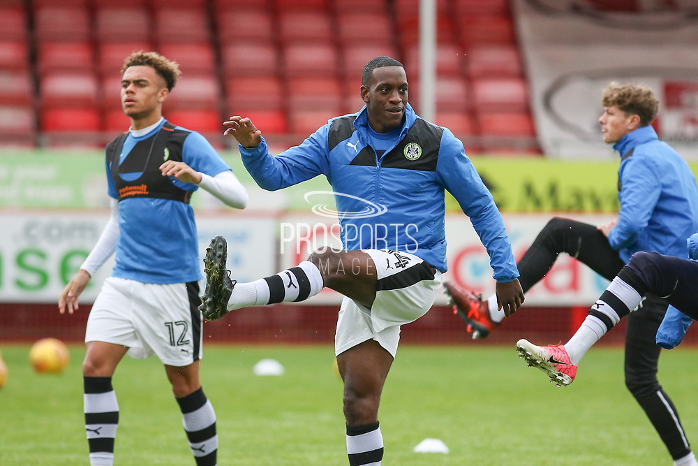 Forest Green Rovers Isaiah Osbourne (34) in warm up during the EFL Sky Bet League 2 match between Crawley Town and Forest Green Rovers at the Checkatrade.com Stadium, Crawley, England on 11 November 2017. Photo by Phil Duncan.