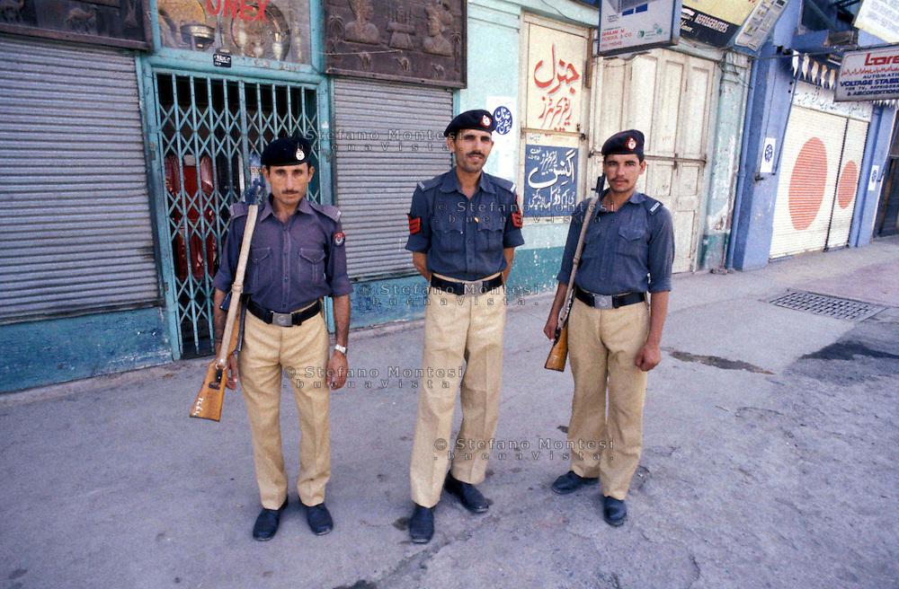 Pakistan  Peshawar  1986..Soldiers patrol the roads