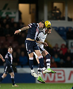 Ross County's Christopher Routis and Dundee&rsquo;s Marcus Haber - Ross County v Dundee in the Ladbrokes Scottish Premiership at The Global Energy Stadium, Dingwall, Photo: David Young<br /> <br />  - &copy; David Young - www.davidyoungphoto.co.uk - email: davidyoungphoto@gmail.com