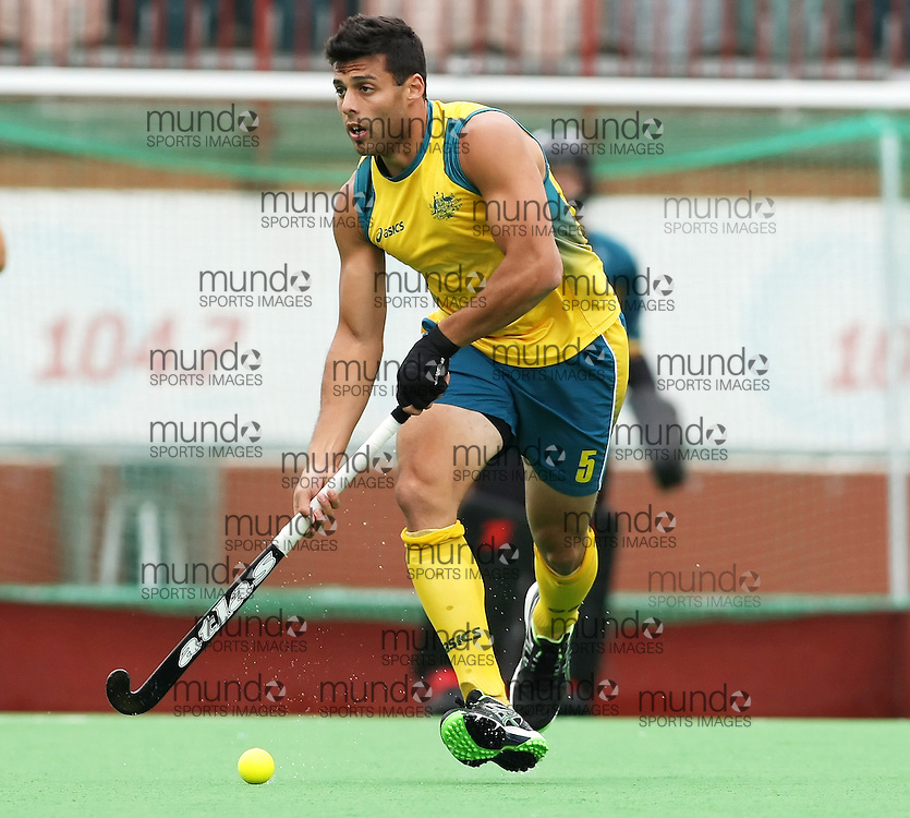 (Canberra, Australia---01 April 2012) Chris Ciriello of the Australia Kookaburra national field hockey team playing in the third of a three game field hockey test match series between Australia and Japan men's field hockey teams. Australia won the game 7-1 and the series 3-0. 2012 Copyright Photograph Sean Burges / Mundo Sport Images.
