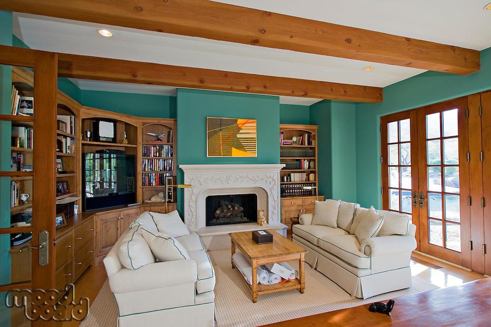 Living room interior of luxury mansion