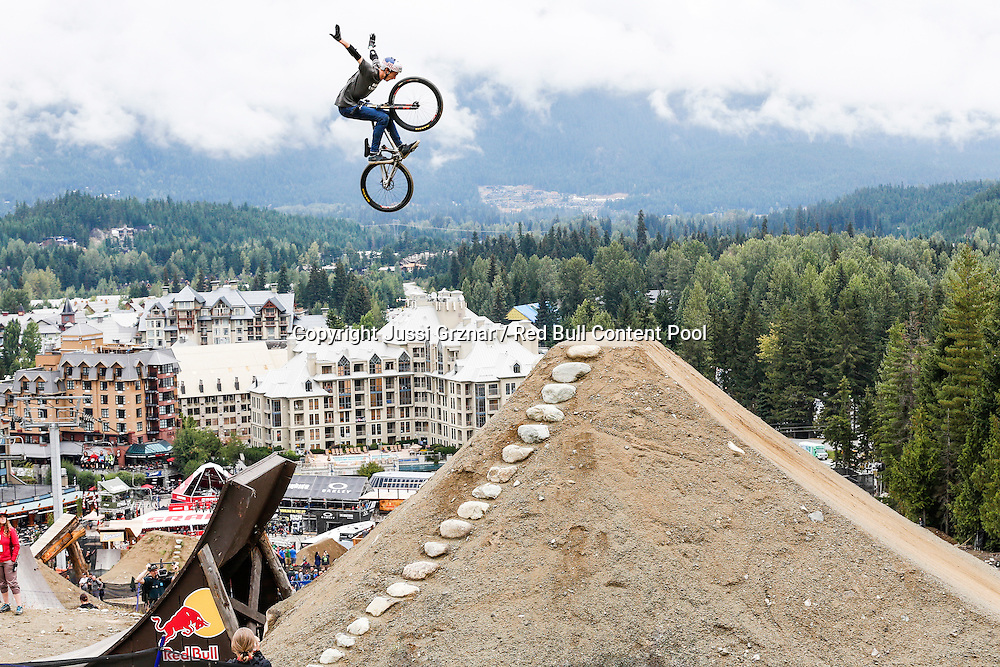 Thomas Genon performs a tuck no hander at the Red Bull Joyride in Whistler, Canada on August 16th, 2015 // Jussi Grznar / Red Bull Content Pool // P-20150817-00129 // Usage for editorial use only // Please go to www.redbullcontentpool.com for further information. //