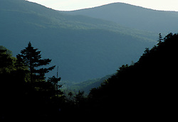 The view through the notch. The hardest mile of the Appalachian Trail.  Mahoosuc Range, White Mountains.  Maine Public Reserve Land. Northern Forest.  Mahoosuc Notch, ME
