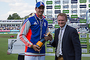 Steven Finn of England with the Man of the Match Award after the 3rd Investec Ashes Test match between England and Australia at Edgbaston, Birmingham, United Kingdom on 31 July 2015. Photo by Phil Duncan.