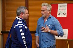 NEWPORT, WALES - Friday, May 29, 2015: Wales' coach Osian Roberts and delegate David Ginola during the Football Association of Wales' National Coaches Conference 2015 at the Celtic Manor Resort. (Pic by David Rawcliffe/Propaganda)