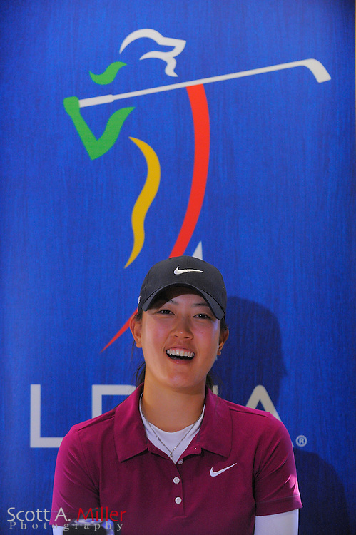 Michelle Wie speaks to the media following the final round of LPGA Qualifying School on the Champions Course at LPGA International on Dec. 7, 2008 in Daytona Beach, FL....©2008 Scott A. Miller
