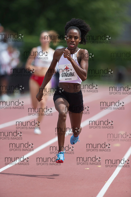 OTTAWA, ON -- 06 July 2018: Aiyanna Brigitt Stiverne running in the 400m semi-final at the 2018 Athletics Canada National Track and Field Championships held at the Terry Fox Athletics Facility in Ottawa, Canada. (Photo by Sean Burges / Mundo Sport Images).