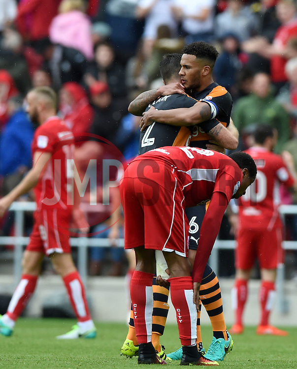 Jamaal Lascelles of Newcastle United and Ciaran Clark of Newcastle United celebrate on the final whistle  - Mandatory by-line: Joe Meredith/JMP - 20/08/2016 - FOOTBALL - Ashton Gate - Bristol, England - Bristol City v Newcastle United - Sky Bet Championship