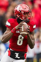 Louisville quarterback Lamar Jackson threw for 281 yards and had 171 yards rushing. The University of Louisville hosted Kentucky, Saturday, Nov. 26, 2016 at Papa John's Cardinal Stadium in Louisville. Kentucky won the game 41-38.