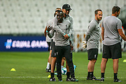 Liverpool manager Jurgen Klopp hugs Liverpool striker Sadio Mane (10) during the Liverpool Training session ahead of the 2019 UEFA Super Cup Final between Liverpool FC and Chelsea FC at BJK Vodafone Park, Istanbul, Turkey on 13 August 2019.