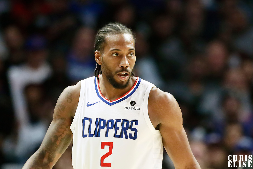 LOS ANGELES, CA - OCT 28: Kawhi Leonard (2) of the LA Clippers is seen during a game on October 28, 2019 at the Staples Center, in Los Angeles, California.