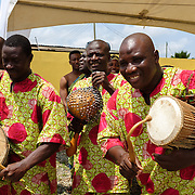 Traditional drummers at a swearing-in ceremony for newly elected members of a council of Queen Mothers in Accra, Ghana on 23 June 2015. A queen mother is a traditional female leader, drawn from the relevant chiefly lineage, who is responsible for women's and children's issues in particular. Though often widely respected and sometimes powerful, especially in matrilineal ethnic groups, their authority is subject to a male chief. After being suppressed during the colonial era, the role of queen mother is being revived in Ghana and is seen by many as a force for development.