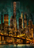 Painterly rendition of a golden nighttime cityscape with Brooklyn Bridge and water reflections in the foreground against a background of soaring skyscrapers