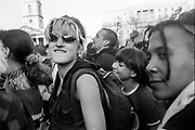 Women in crowd, Reclaim the Streets, Trafalgar Square, London, May 1997
