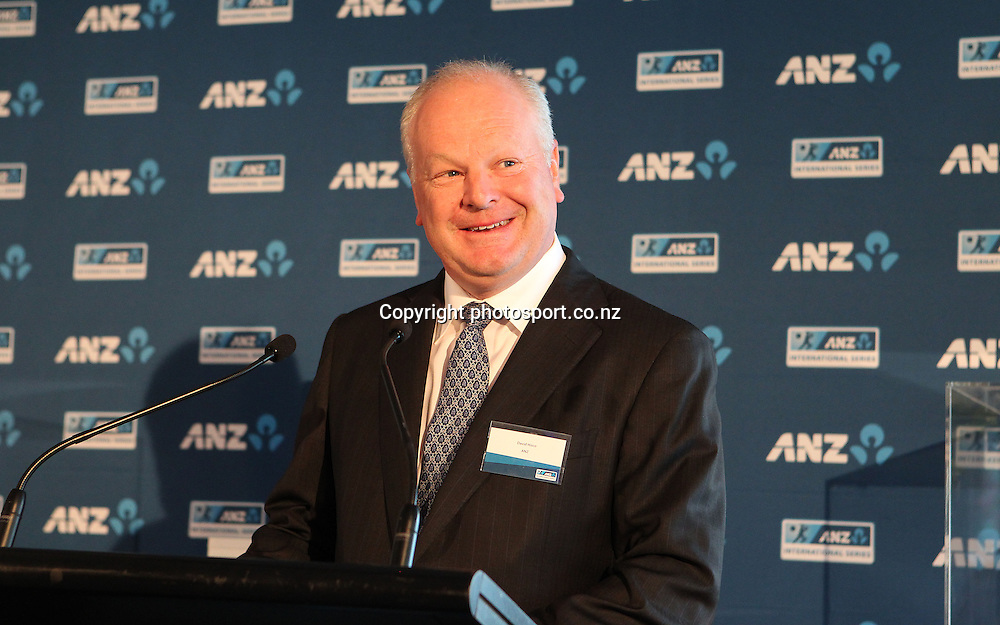 ANZ CEO David Hisco at the ANZ International Cricket Series Launch at Bellini, Hilton Hotel Auckland, 7 February 2013
