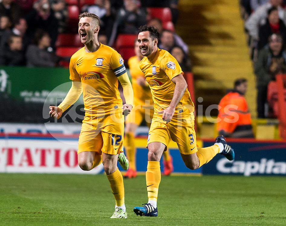 Paul Gallagher celebrates scoring the opening goal during the Sky Bet Championship match between Charlton Athletic and Preston North End at The Valley, London, England on 20 October 2015. Photo by Vince  Mignott.
