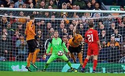 LIVERPOOL, ENGLAND - Saturday, January 28, 2017: Wolverhampton Wanderers' Jón Daði Böðvarsson missies a chance against Liverpool's goalkeeper Loris Karius during the FA Cup 4th Round match at Anfield. (Pic by David Rawcliffe/Propaganda)