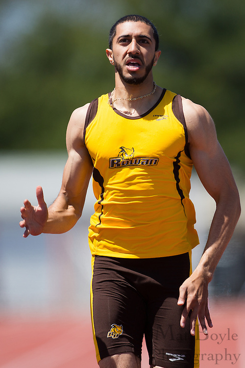 Rowan University's Ali Ejaz competes in the men's 200 meter at the NJAC Track and Field Championships at Richard Wacker Stadium on the campus of  Rowan University  in Glassboro, NJ on Sunday May 5, 2013. (photo / Mat Boyle)
