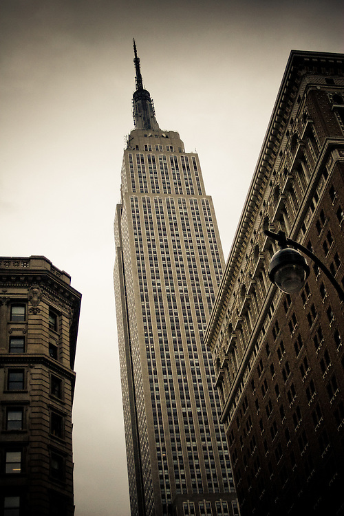 Empire State Building seen from below in midtown Manhattan, New York, USA.