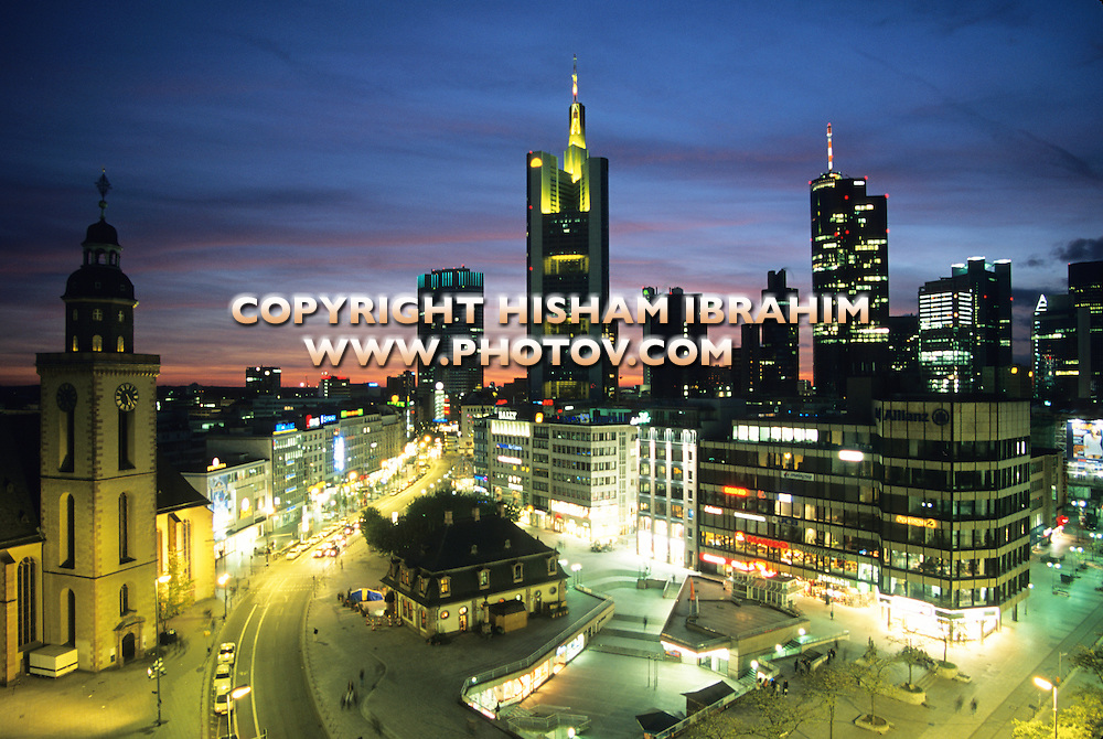 Frankfurt Business District Illuminated at Dusk, Frankfurt, Germany