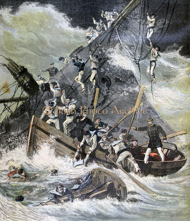Wreck of the 'Labourdonnais' off Madagascar in a cyclone.  23 of the 116 on board were lost. From 'Le Petit Journal', Paris, 125 March 1893. Weather, Storm, Shipwreck, Sea, Wave, Lifeboat, Rescue