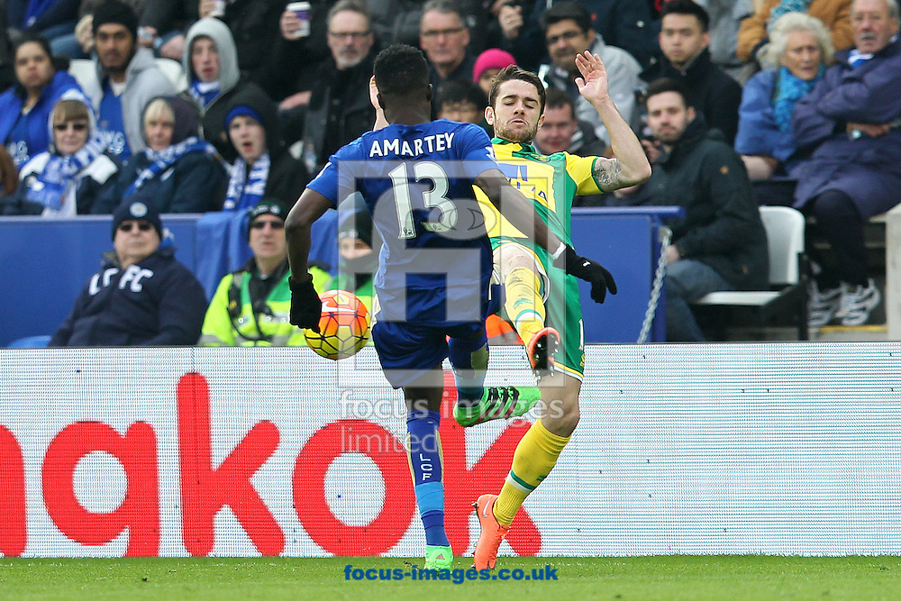 Robbie Brady of Norwich and Daniel Amartey of Leicester City in action during the Barclays Premier League match at the King Power Stadium, Leicester<br /> Picture by Paul Chesterton/Focus Images Ltd +44 7904 640267<br /> 27/02/2016
