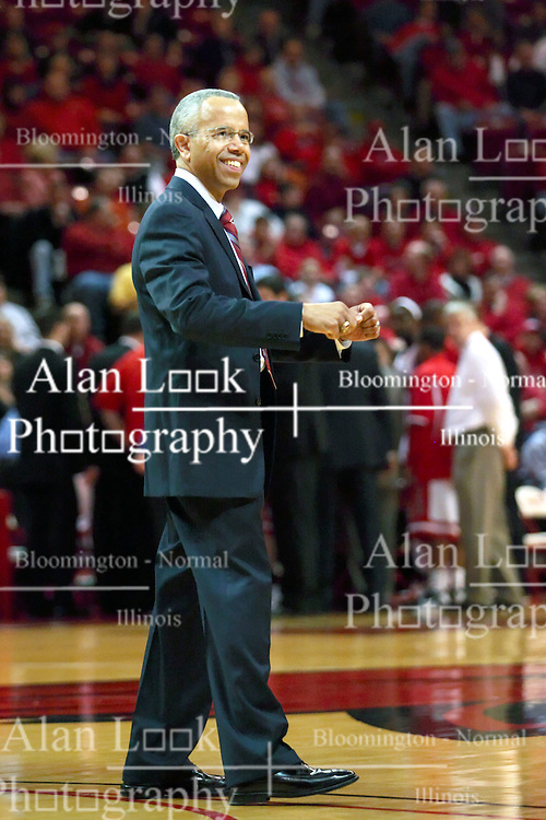18 February 2009: ISU President Al Bowman acknowledges shouts and cheers from the students while in the floor for a presentation. The Illinois State University Redbirds took the charge out of the Wichita State Shockers 74-59 on Doug Collins Court inside Redbird Arena on the campus of Illinois State University in Normal Illinois