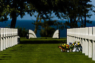 Rows of headstones mark American graves at Omaha Beach, Normandy, France.