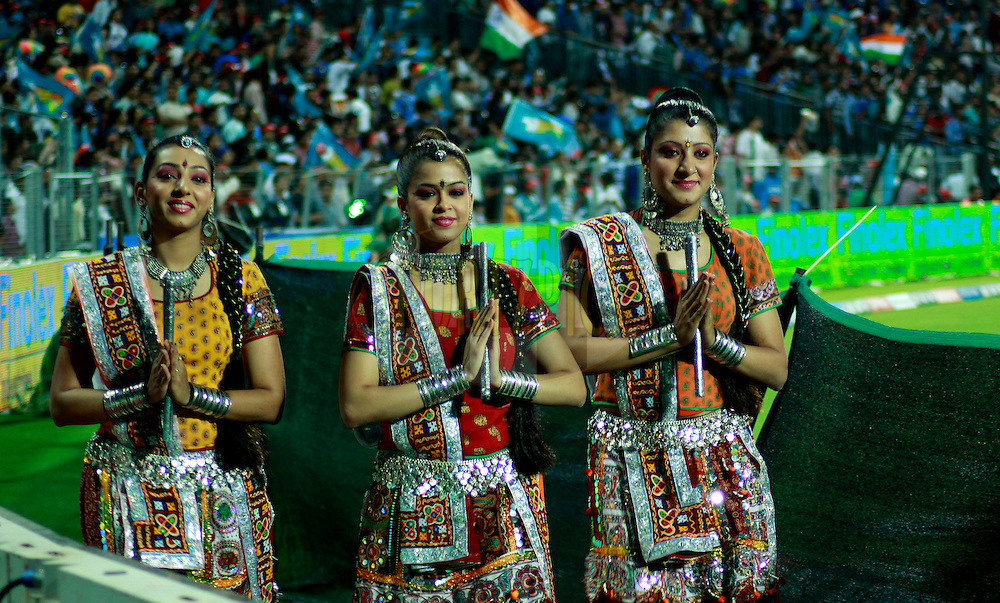 Cheer Girls of Pune Warriors during match 45 of the the Indian Premier League ( IPL) 2012  between The Pune Warriors India and the Mumbai Indians held at the Subrata Roy Sahara Stadium, Pune on the 3rd May 2012..Photo by Sandeep Shetty/IPL/SPORTZPICS