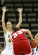 19 February 2009: Iowa center Megan Skouby (44) defends Wisconsin forward Lin Zastrow (33) during the first half of an NCAA women's college basketball game Thursday, February 19, 2009, at Carver-Hawkeye Arena in Iowa City, Iowa. Iowa defeated Wisconsin 72-65.