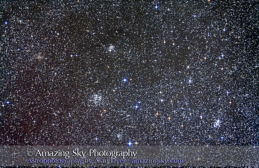 NGC 663 (left of centre) and M103 (bottom right) open clusters in Cassiopeia. NGC 654 is at upper centre and NGC 659 bottom centre. Faint cluster IC 166 is at far left. Taken Nov 5, 2010 with 105mm A&M apo refractor at f/5 with Borg .85x flattener/reducer and Canon 5DMkII at ISO 800 for stack of 4 x 10 minute exposures, Median combined. Used Celestron CGEM mount and Sky-Watcher SynGuider on William Optics 66mm guidescope. All seemed to work well.