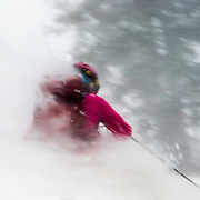 Kim Havell skis through whiteout conditions in the backcountry of the Tetons near Jackson Hole Resort in Teton Village, Wyoming.