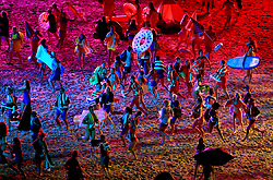 Performers during the Opening Ceremony for the 2018 Commonwealth Games at the Carrara Stadium in the Gold Coast, Australia. PRESS ASSOCIATION Photo. Picture date: Wednesday April 4, 2018. See PA story COMMONWEALTH Ceremony. Photo credit should read: Mike Egerton/PA Wire. RESTRICTIONS: Editorial use only. No commercial use. No video emulation