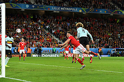 Marouane Fellaini of Belgium heads wide  - Mandatory by-line: Joe Meredith/JMP - 01/07/2016 - FOOTBALL - Stade Pierre Mauroy - Lille, France - Wales v Belgium - UEFA European Championship quarter final