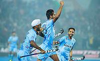 LUCKNOW (India) -   Junior World Cup hockey  U21 for men . final BELGIUM v INDIA.   Gurjant Singh (India)  scored 1-0. and celebrates. left Simranjeet Singh (India)   COPYRIGHT  KOEN SUYK