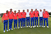 United States of America team pose for photos after their  victory 15.5 to 10.5 to retain the Walker Cup during the Sunday Singles in the Walker Cup at the Royal Liverpool Golf Club, Sunday, Sept 8, 2019, in Hoylake, United Kingdom. (Steve Flynn/Image of Sport)