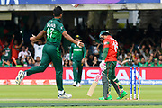 Wicket - Wahab Riaz of Pakistan celebrates taking the wicket of Mushfiqur Rahim (wk) of Bangladesh during the ICC Cricket World Cup 2019 match between Pakistan and Bangladesh at Lord's Cricket Ground, St John's Wood, United Kingdom on 5 July 2019.