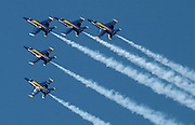 The U.S. Navy Blue Angels perform at the 2008 National Cherry Festival.