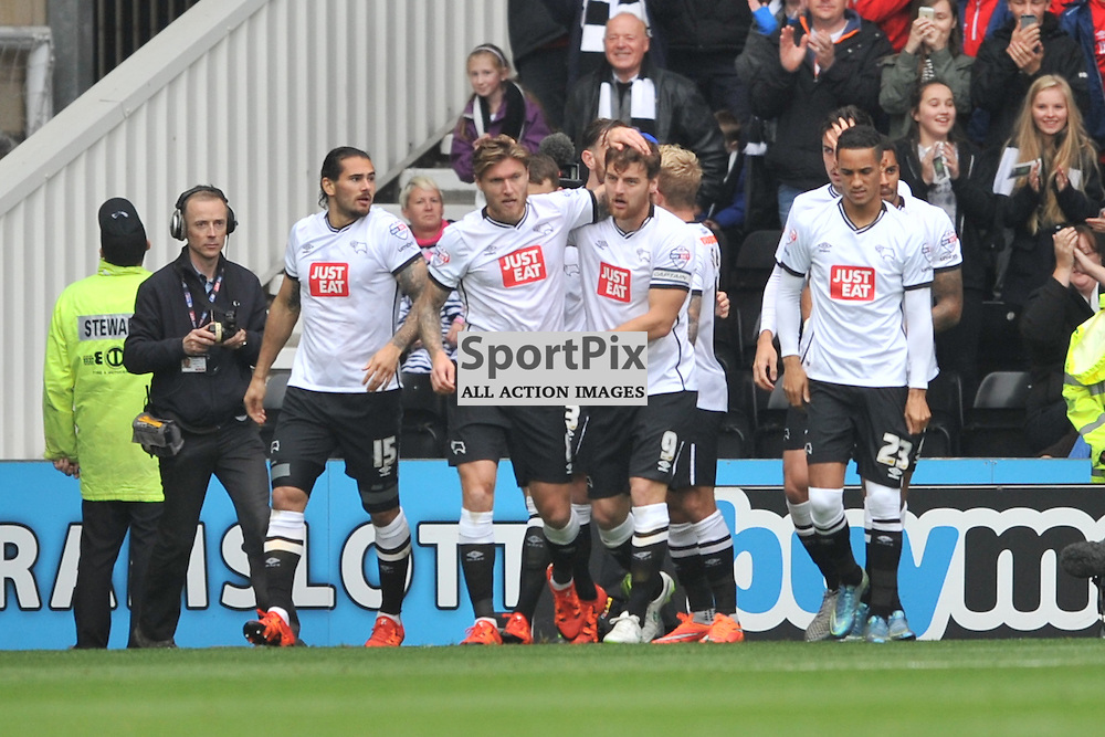 Derbys Chris Martin heads in Derbys First goal and celebrates his at Derby, Derby County v Wolves, Sky Bet Championship, Sunday 18th October 2015Derbys Chris Martin heads in Derbys First goal celebrates his at Derby, Derby County v Wolves, Sky Bet Championship, Sunday 18th October 2015