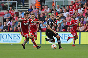 Derby Matej Vydra (23) battling on the ball with Bristol captain Marlon Pack (21) during the EFL Sky Bet Championship match between Bristol City and Derby County at Ashton Gate, Bristol, England on 17 September 2016. Photo by Gary Learmonth.