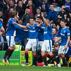 Graham Dorrans celebrates after scoring Rangers second goal from the penalty spot, Motherwell v Rangers, Scottish Premiership, 6 August 2017 . (c) Adam Oliver | sportPix.org.uk