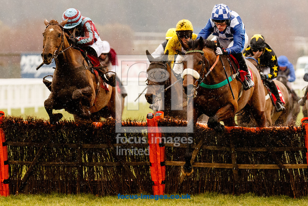 Paddy Bradley riding Right Step (Blue/White checks) wins the  EstatesDirect.com The 0% Commission Agent Conditional Jockeys' Handicap Hurdle at the Royal Artillery Gold Cup meeting at Sandown Park, Esher<br />