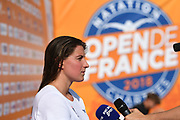 Charlotte Bonnet (FRA) on press conference during the French Open 2018, at Aquatic Center Odyssée in Chartres, France on July 7th to 8th, 2018 - Photo Stephane Kempinaire / KMSP / ProSportsImages / DPPI