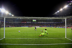 CARDIFF, WALES - Thursday, June 1, 2017: Paris Saint-Germain's captain Sabrina Delannoy scores her side's second penalty past Olympique Lyonnais' goalkeeper Sarah Bouhaddi during the penalty-shoot out during the UEFA Women's Champions League Final between Olympique Lyonnais and Paris Saint-Germain FC at the Cardiff City Stadium. (Pic by David Rawcliffe/Propaganda)