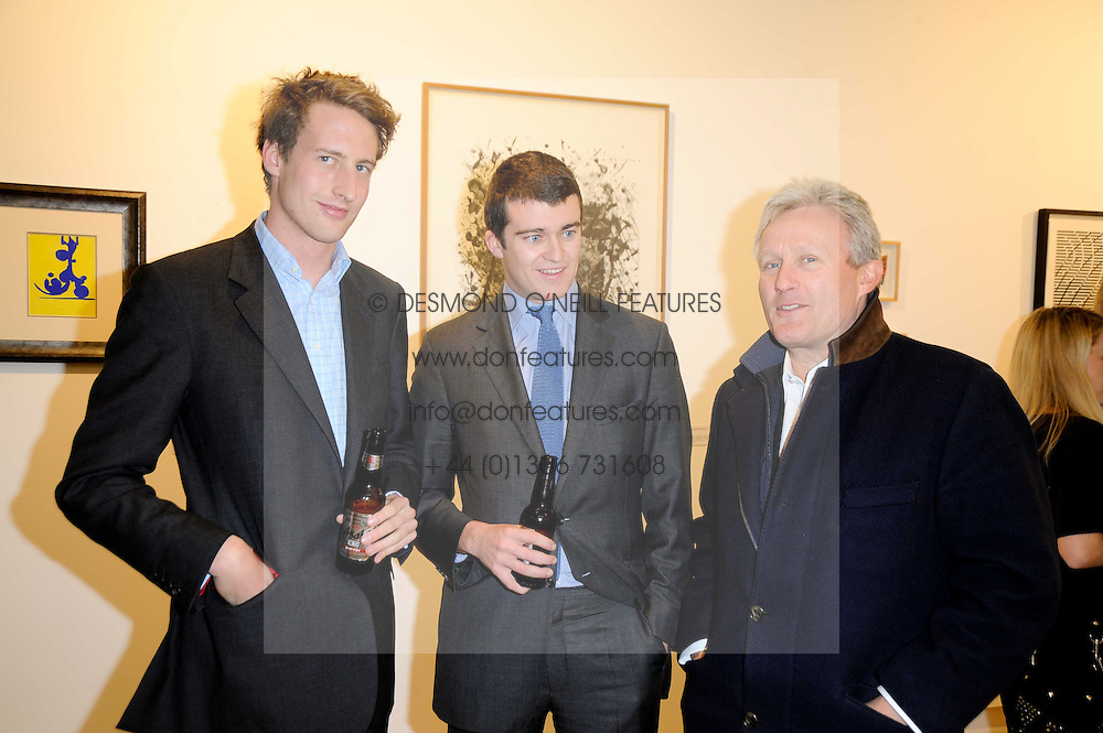 Left to right, the HON.FREDDIE HESKETH, HICKMAN BACON and SEBASTIAN TAYLOR at a Pop Up exhibition of Fine Art held at the Broadbent Gallery, 25 Chepstow Corner, Chepstow Place, London W2 on 7th December 2010.