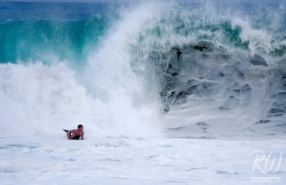Bodyboarding the Wedge Big Wave, Newport Beach, California