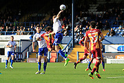 Bradford City players appeal for a handball during the EFL Sky Bet League 1 match between Bury and Bradford City at the Energy Check Stadium at Gigg Lane, Bury, England on 14 October 2017. Photo by Richard Holmes.