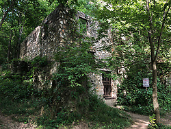 The abandoned ruins of the Welch Hospital sit next to Welch Spring along the Current River, located in the Ozark National Scenic Riverways. The two-story hospital was developed as a health resort for people affected by asthma. It was believed that patients could be helped by the cool, pollen-free air from the cave. The hospital ceased operations in 1940 with the death of its owner, Dr. Christian Diehl. Welch Spring delivers an average daily flow of 78.2 million gallons of crystal clear water to the Current River.<br /> <br /> The Ozark National Scenic Riverways was established in 1964, making it America's first national park area to protect a wild river system. The Ozark National Scenic Riverways, which include the Current and Jacks Fork rivers, is known for its caves, springs, sinkholes and losing streams. Visitors can enjoy water activities, such as floating, canoeing, tubing, swimming, and fishing. Additionally, there are opportunities for hiking, horseback riding, and wildlife viewing. Over 130 miles of waterways and 300 identified caves exist within the park.
